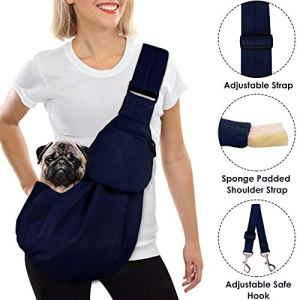 AutoWT Dog Padded Papoose Sling, Small Pet Sling Carrier Hands Free Carry Adjustable Shoulder Strap Reversible Tote Bag with a Pocket Safety Belt Dog Cat Traveling Subway 13