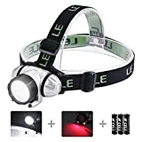 LE Headlamp Flashlight with 4 Lighting Modes, 90° Tiltable lighting, Waterproof, Lightweight, Adjustable and Comfortable Headband, Perfect Headlight for Camping, Hiking and Outdoors, Battery Included