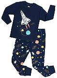shelry Boys Rocket Pajamas Children Christmas Pants Set 100% Cotton Size 6 Years Blue