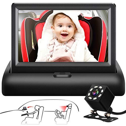 "Shynerk Baby Car Mirror, 4.3"" HD Night Vision Function Car Mirror Display, Safety Car Seat Mirror Camera Monitored"