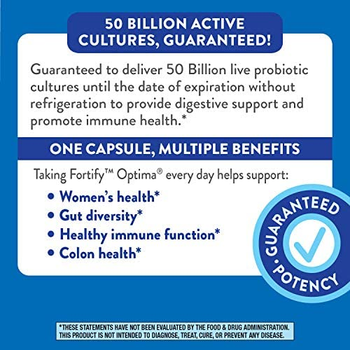 Fortify Optima Women's Daily Probiotic, 50 Billion Live Cultures, 7 Strains, 30 Capsules 8