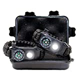 TRSCIND Paracord Bracelet Outdoor Survival Multifunctional Equipment Kit - Compass, Flash, Flintstone, Blade, Emergency Whistle - for Trekking, Mountaineering, Travel, Camping, Hunting (Black)