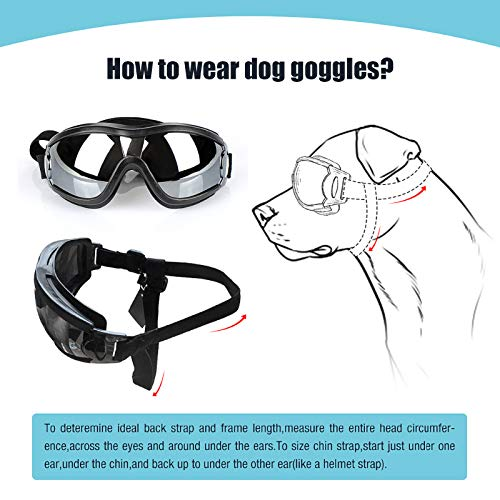 PEDOMUS Dog Sunglasses Dog Goggles Adjustable Strap for Travel Skiing and Anti-Fog Dog Snow Goggles Pet Goggles for Medium to Large Dog 6