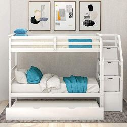 Bunk Bed Twin-Over-Twin, Wood Twin Bunk Bed for Kids with Trundle with Storage Drawers (White Bunk Bed)