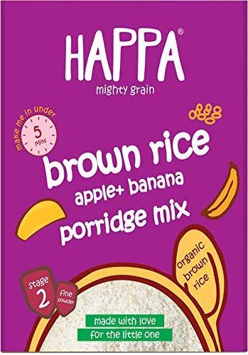 Happa Organic Baby Food, Brown Rice+ Apple + Banana Porridge Mix, 200 Gram