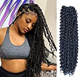 6Pcs Passion Twist Hair 18 Inch Long Bohemian Braids for Passion Twist Crochet Braiding Hair Hot Water Setting Itch Free Synthetic Fiber Natural Hair Extension(18, 1B)