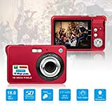 HD Mini Digital Cameras,Point and Shoot Digital Cameras for Kids Teenagers Beginners-Travel,Camping,Outdoors,School (Red 1)