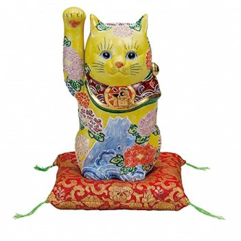 Jpanese traditional ceramic Kutani ware. Lucky charm ornament. Beckoning cat. Flowers. With paper box. ktn-K5-1593