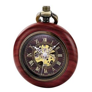 TREEWETO Vintage Wood Mechanical Pocket Watch for Men Women Steampunk Skeleton Dial with Chain + Gift Box