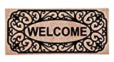 Evergreen Filigree Welcome Decorative Mat Insert, 10 x 22 inches