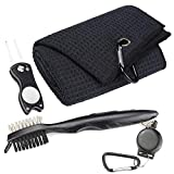 Mile High Life Microfiber Waffle Pattern Golf Towel | Club Groove Cleaner Brush | Foldable Divot Tool with Magnetic Ball Marker (Black Towel/Brush/Fish Divot)