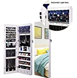 AOOU Jewelry Organizer Jewelry Cabinet, Full Screen Display View Larger Mirror, Lockable Wall Door Mounted, Full Length Mirror, Large Capacity Dressing Mirror Makeup Jewelry Armoire,White