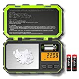 [Upgraded] Digital Mini Scale, Kitchen scale, 200g /0.01g Pocket Scale, 50g calibration weight, Electronic Smart Scale, LCD Backlit Display, 6 Units, Auto Off, Tare, Stainless Steel- Green