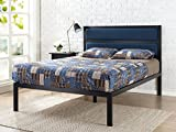 Zinus 16 Inch Platform Bed / Metal Bed Frame / Mattress Foundation with Tufted Navy Panel Headboard / No Box Spring Needed / Wood Slat Support, Queen