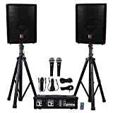 Rockville Package PA System Mixer/Amp+10' Speakers+Stands+Mics+Bluetooth (RPG2X10 v2)