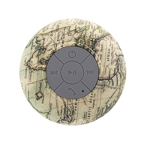 Water Resistant Bluetooth 3.0 Shower Speaker, Handsfree Portable Speakerphone with Built-in Mic, 6hrs of Playtime, Control Buttons and Dedicated Suction Cup (Globe Map)