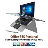 1920x1080p Full HD IPS 13.3' Touchscreen Laptop Tablet Windows 10 PC Fingerprint Reader & Stylus (Silver)