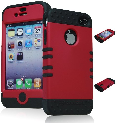 Bastex Heavy Duty Hybrid Case for iPhone 4, 4S, 4G, 4GS, 4th Generation - Black Silicone/Hot Pink, Magenta, Red Hard Shell
