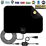 Vansky HDTV Antenna - Digital Amplified HD TV Antenna 50-90 Miles Range 4K HD VHF UHF Freeview Television Local Channels w/Detachable Signal Amplifier and 16.5ft Longer Coax Cable