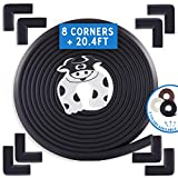Bebe Earth | Baby Proofing Edge & Corner Guard Protector Set | Safety Bumpers | Child Proof Furniture & Tables | Pre-Taped Bumper Corners (20.4 ft + 8 Corners, Onyx Black)