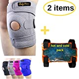 BodyMoves Kid's Knee Brace Support Plus Hot and Cold Ice Pack (Cool Gray)