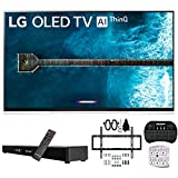 LG OLED55E9PUA 55' E9 4K HDR OLED Glass Smart TV w/AI ThinQ (2019 Model) w/Soundbar Bundle Includes Deco Gear Home Theater Surround Sound 31' Soundbar, Flat Wall Mount Kit for 32-60 inch TVs and Mor