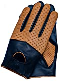 Riparo Men's Touchscreen Texting Half Mesh Perforated Summer Driving Motorcycle Leather Gloves (Large, Black/Cognac)