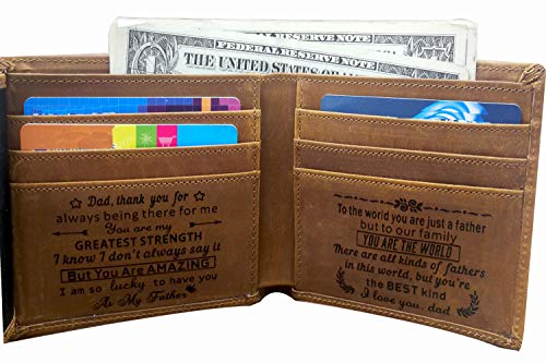 Engraved Card Holder Minimalist Wallet To My Son Dad Husband, Personalized Gift Slim Cards Case (Tri-fold wallet to my dad -2)