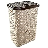 Uniware 60 LT Hollow Design Clothes Hamper Laundry Basket, Made In Turkey,White/Beige (1, Beige/Brown)