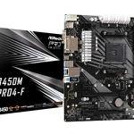 ASRock B450M PRO4-F Socket AM4/ AMD Promontory B450/ DDR4/ Quad CrossFireX/ SATA3&USB3.1/ M.2/ A&GbE/MicroATX…
