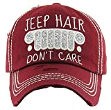 H-212-JHDC64 Distressed Baseball Cap Vintage Dad Hat - Jeep Hair Dont Care (Burgundy)