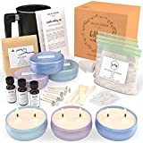 Nature's Blossom Candle Making Supplies Kit - Easily Create Large Scented Candles. Complete DIY Starter Set with Soy Wax, Candles Scents, Melting Pot, Cotton Wicks, Tin Jars, Candle Maker Guide.