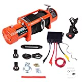 LUJUNTEC 12V 13000LBS Electric Winch Towing Truck Winches with Steel Rope,Aluminum Fairlead,Control Box,Wireless Remote Control,Switch Assembly,Negative/Positive Wire
