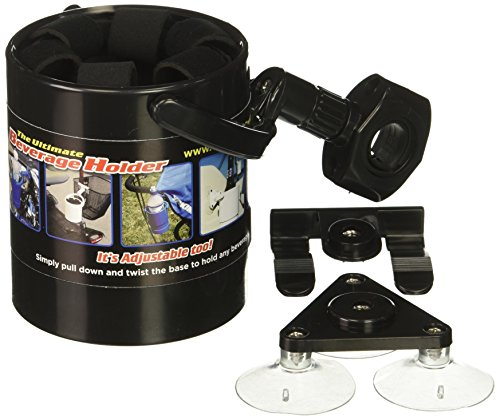 Liquid Caddy Black Beverage Cup Holder, Attaches Almost Anywhere, Works on Boats, Bikes, Ice Shacks, Lawn Chairs, ATV, Golf Bag, Camping, Canoe, Treestand, for Water, Coffee, Beer, Soda