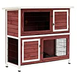 PawHut 48' 2-Story Elevated Stacked Wooden Rabbit Hutch Small Animal Habitat with Ramp