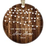 New Home 2019 Ornament Housewarming 1st Christmas In Our New House Rustic Farmhouse Ceramic Collectible Homeowner Present Real Estate Agent 3' Flat Circle Porcelain Gold Ribbon Free Gift Box OR00538