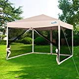 Quictent 8x8 Ez Pop up Canopy with Netting Instant Gazebo Mesh Side Wall Screen House with Roller Bag Tan