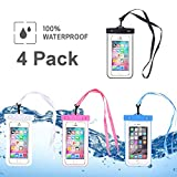 4-Pack Phone Waterproof Case, Universal Dry Bag Waterproof Phone Bag Pouch for iPhone 7/7 Plus/6/6s Plus/5s/se/5c/Galaxy S3/S4/S5/S6/S7 EDGE plus Note 3/4/5 4-Pack (Black, Blue, White, Pink)