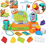 JOYIN Smart Cash Register Pretend Play Cashier with Scanner, Microphone, Play Money and Grocery Toy for Kid Boys and Girls, Toddler Interactive Learning, Educational, and Classroom Prize.