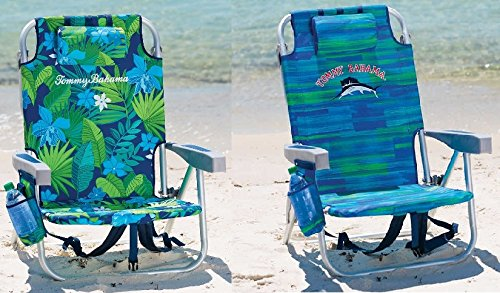 Tommy Bahama 20172 PACK Backpack Cooler Beach Chair Lounge with Storage Pouch and Towel Bar (VARIOUS COLOR COMBOS) (Green Floral & Blue Weave)