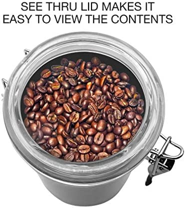 """Oggi Coffee Canister, 5"""" x 7.75"""", Stainless Steel"""
