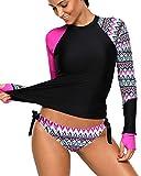 REKITA Womens Long Sleeve Rashguard Shirt Color Block Print Tankini Swimsuit Rose XXX-Large