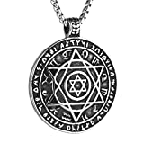 "HZMAN Talisman Seal Solomon Six-pointed Star 12 Constellation Pendant stainless steel Necklaces 24"" Chain (Silver)"
