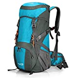 Promover Large 35L Travel Backpack Hiking Daypack Lightweight Water Resistant Camping Rucksack with Rain Cover for Camping Men Women (Blue/Dark Grey)