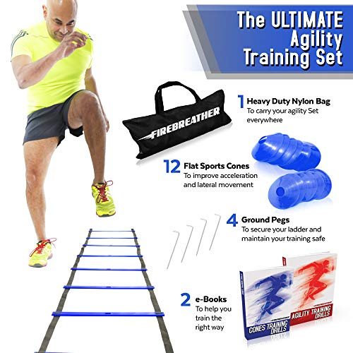 Agility Ladder and Cones by FireBreather. Great Training Equipment to Exercise Speed in Soccer, Football & Sports Workout. Set of 15ft Ladder, 12 Discs, 4 Pegs, Carrying Bag & 2 Drills Ebook