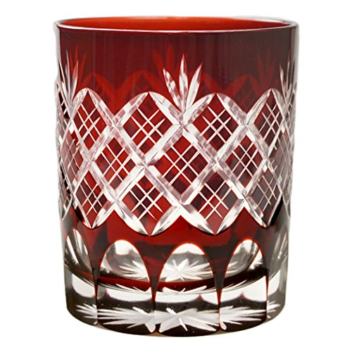 Double Old Fashioned Glass 9.4Oz Edo Kiriko Design Cut Glass Kasane Yarai - Red [Japanese Crafts Sakura]