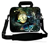 RICHEN 11 11.6 12 12.5 13 inches Case Laptop/Chromebook/Ultrabook/Notebook PC Messenger Bag Tablet Travel Case Neoprene Handle Sleeve with Shoulder Strap (11-13.3 inch, Clock &Butterfly)
