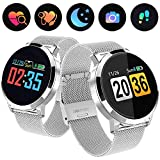 0.95' OLED Fitness Tracker Smart Watch for Women Men, Activity Tracker with Heart Rate Monitor Blood Pressure Sleep Monitor, Pedometer GPS Tracker for iPhone Android Phones (Ultra-Long Battery Life)