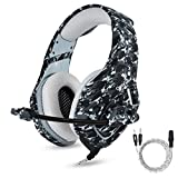 PS4 Gaming Headset with Mic for PC Mac Laptop New Xbox one Nintendo DS PSP Surround Stereo Sound Noise Reduction One Key Mute Gaming Volume Control Omnidirectional Microphone Gamer (Camouflage)