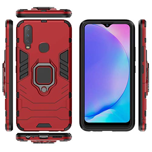 Soezit Kick Stand Metal Ring Holder Back Cover for Vivo Y12 (6.4 inch) (Red) 4